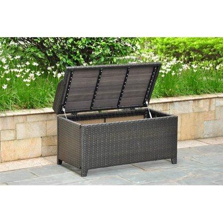 Wicker Resin Aluminum Patio Bench With Storage Walmart Com