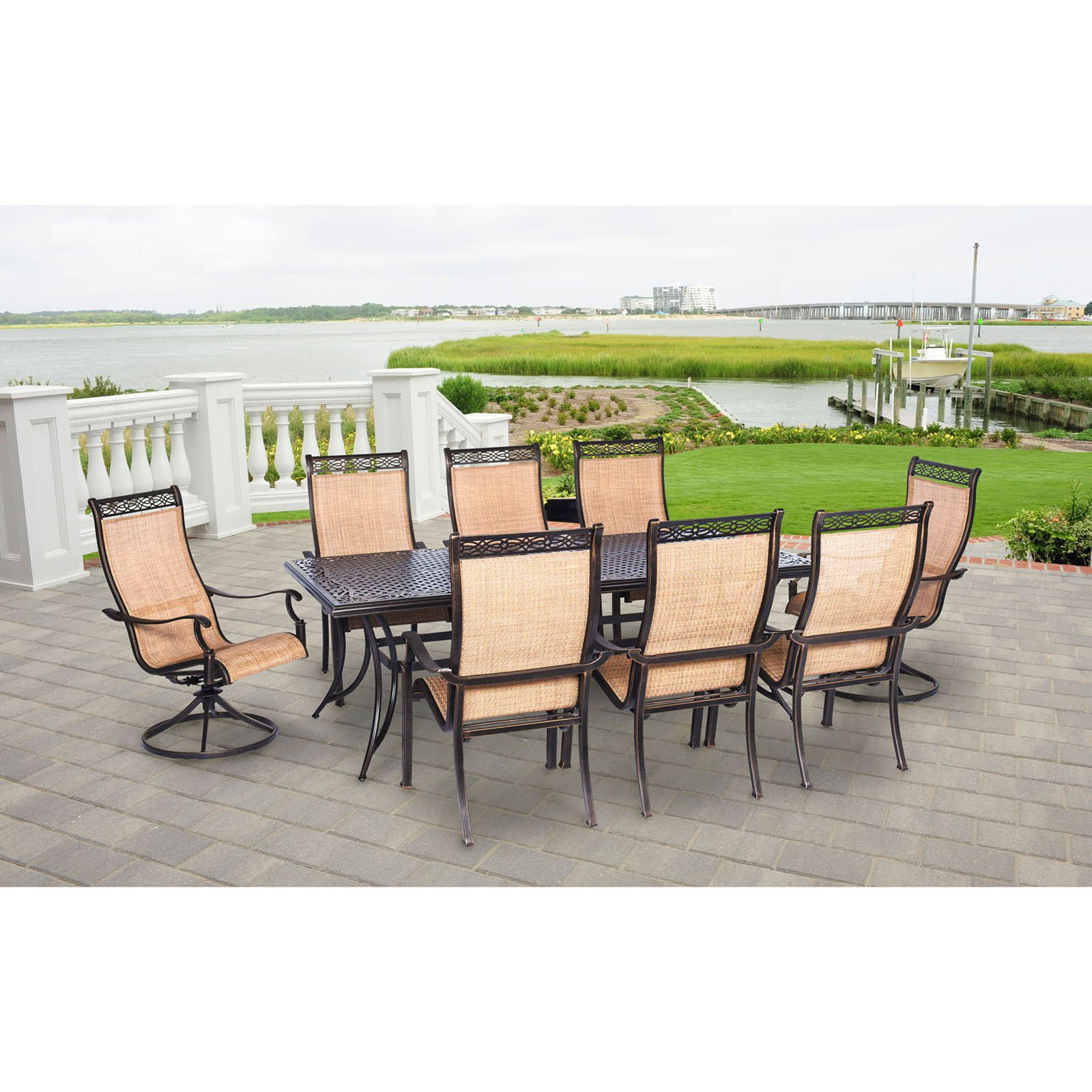 Hanover Manor Dining Set (9-Piece) Cast/Sling Cedar MANDN9PCSW-2