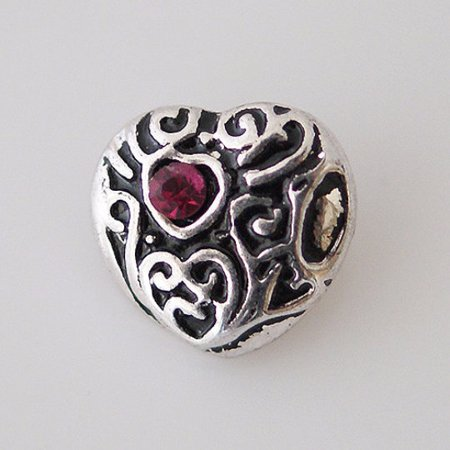 1 PC - 12MM Heart Purple Rhinestone Silver Charm for Candy Snap Jewelry kb6640 CC0812
