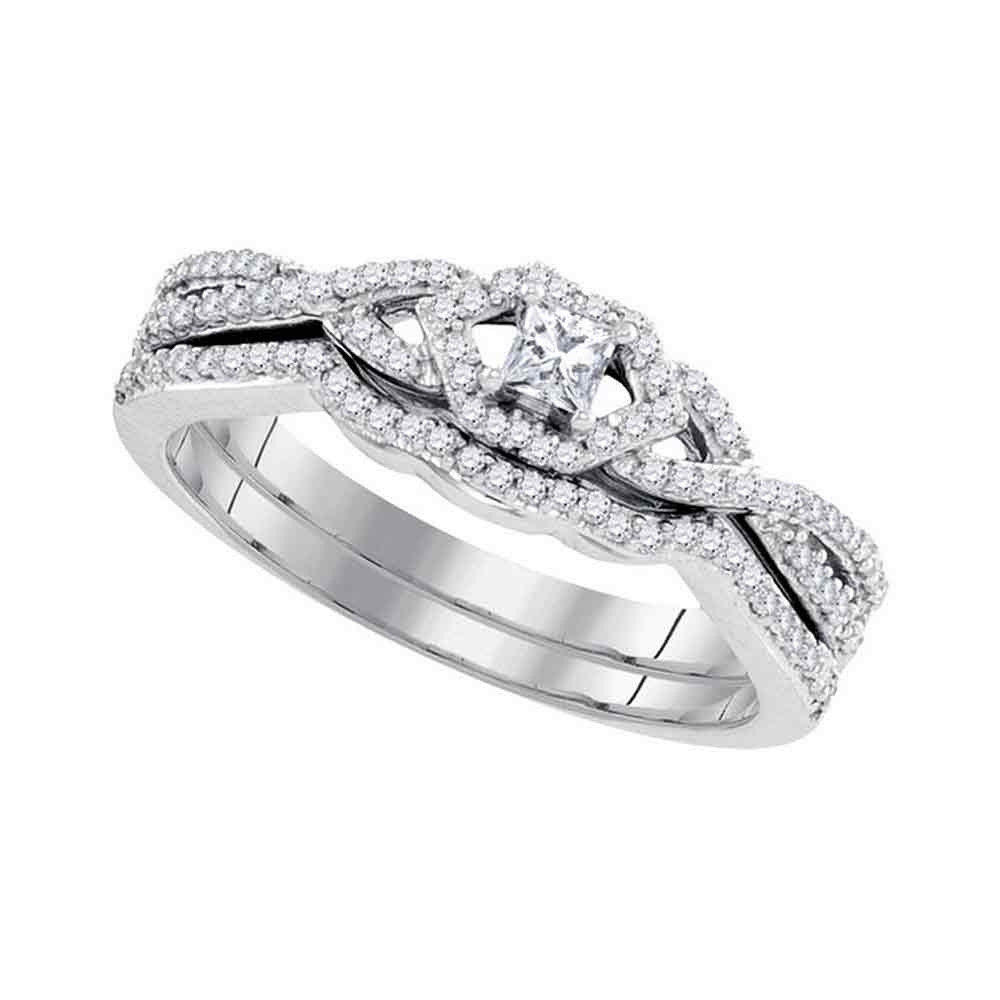 10k White Gold Womens Princess Diamond Bridal Wedding Engagement Ring Band Set Slender 1 3 Cttw by GND