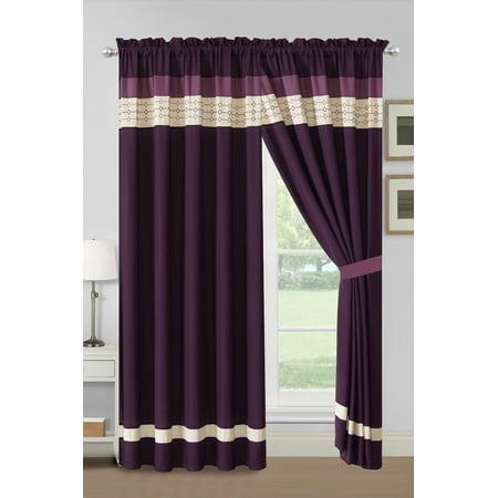 4-Pc Yuma Diamond Stripe Southwest Embroidery Curtain Set Purple Lavender Beige Valance Drape Sheer (Tropez Stripe)