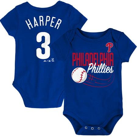 Bryce Harper Philadelphia Phillies Majestic Newborn & Infant Baby Slugger Name & Number Bodysuit - Royal](Royal Baby Halloween)