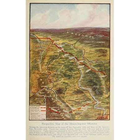 Map Harpers Pictorial World War 1920 Meuse-Argonne Poster (1920 Map)