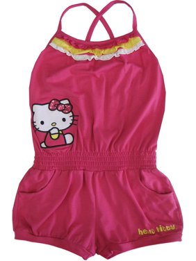 51e18247efef Product Image Sanrio Little Girls Fuchsia Hello Kitty Contrast Ruffle Trim Romper  4-6X