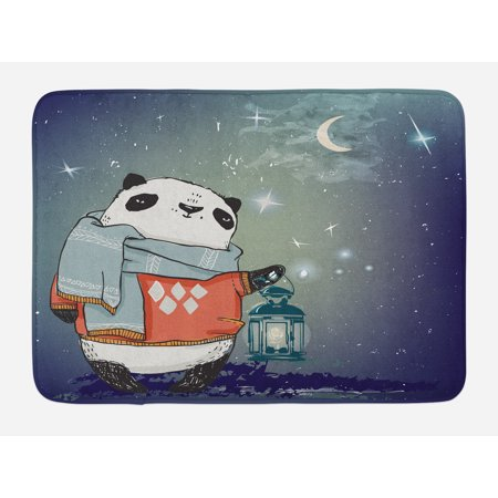 Kids Bath Mat, Panda Bear with a Scarf Outside in the Starry Winter Night Grunge Looking Artwork, Non-Slip Plush Mat Bathroom Kitchen Laundry Room Decor, 29.5 X 17.5 Inches, Multicolor,