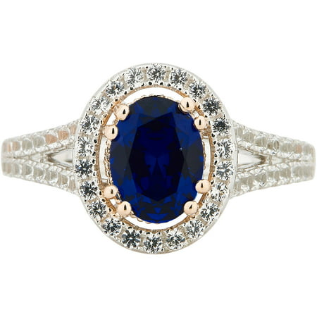 Created Blue and White Sapphire Gemstone Two tone Sterling Silver Split Shank Ring Blue Sapphire Two Tone Ring
