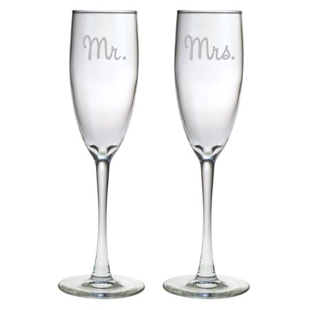Susquehanna Glass Mr. and Mrs. Glass Toasting Flutes (Set of 2)