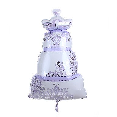 Lilac Wedding Cake Metallic Balloon With Love Birds on the Top