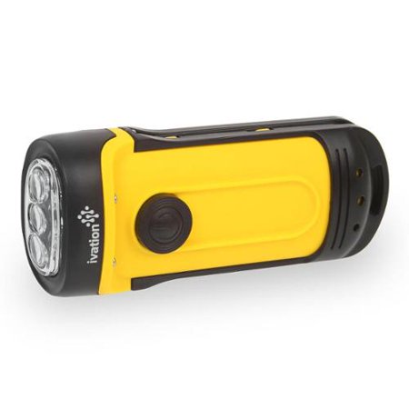 Ivation Hand Crank Dynamo 3 Led Flashlight Ipx6 Waterproof No Battery Replacing