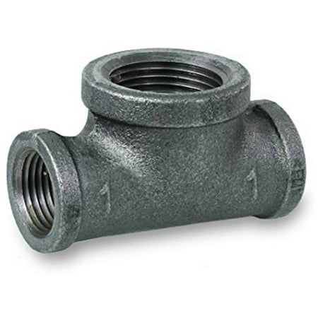 """Everflow Supplies BMBT0340 Black Malleable Bull Head Tee Fitting with Female Threaded Connections, 3/4"""" x 3/4"""" x 1"""""""