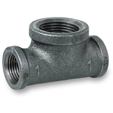 Everflow Supplies BMBT0340 Black Malleable Bull Head Tee Fitting with Female Threaded Connections, 3/4