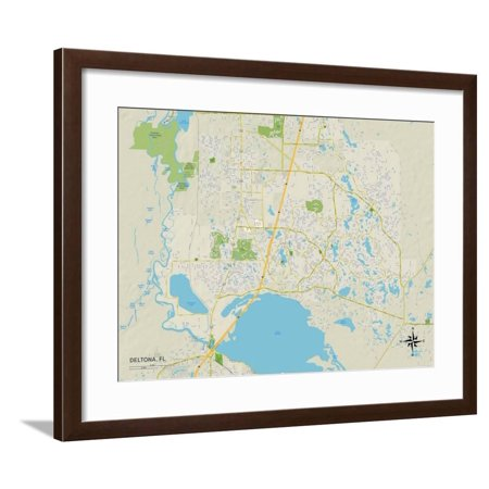 Political Map of Deltona, FL Framed Print Wall Art