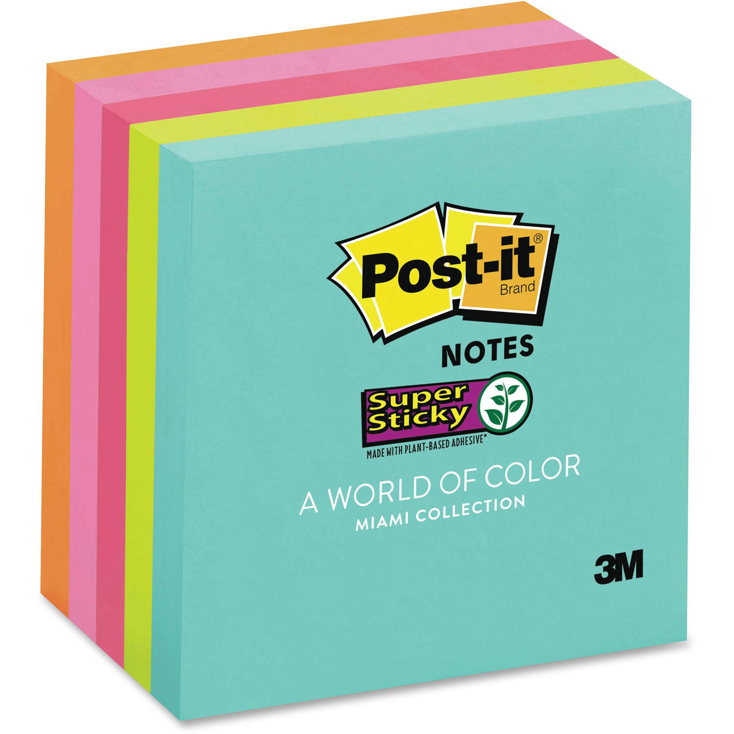"""Post-it 3"""" x 3"""" Super Sticky Notes 5 Pack, Miami Collection, 3in x 3in"""