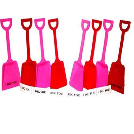 Small Toy Plastic Shovels Mix Red & Pink, 24 Pack, 7 Inches Tall, 24 I Dig You Stickers - I Dig You