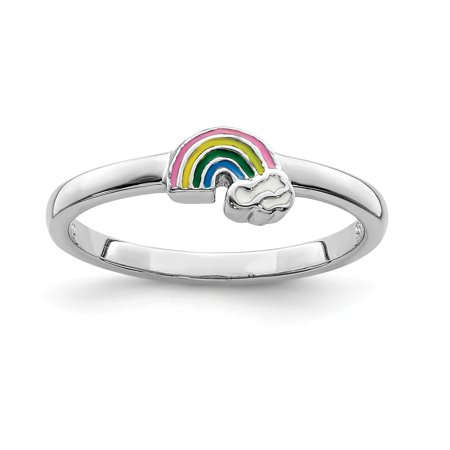925 Sterling Silver Rhodium-plated for boys or girls Enameled Rainbow Ring - Ring Size: 3 to (Boy Or Girl Wedding Ring On String)