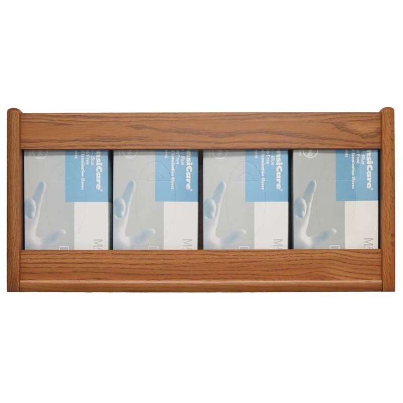 Wooden Mallet 4 Pocket Glove and Tissue Box Holder in Medium Oak