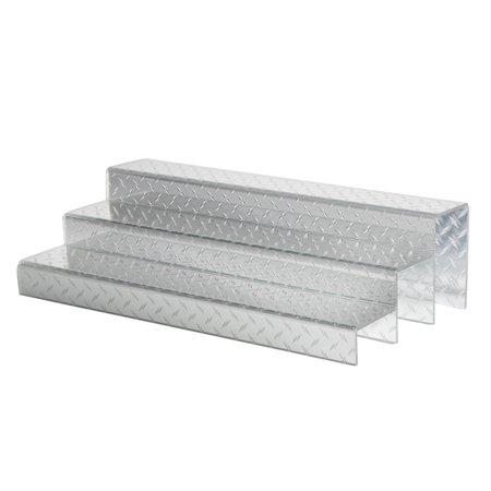 24 Inch 3 Tier Liquor Bottle Shelf Diamond Plate Design