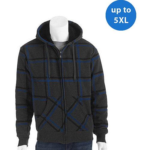 Generic Big Men's Printed Plaid Fleece Jacket with Sherpa Lining