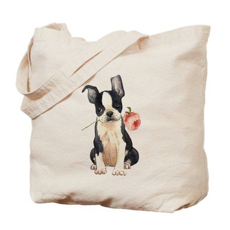 Canvas Medium Boston Bag (CafePress - Boston Terrier Rose - Natural Canvas Tote Bag, Cloth Shopping)