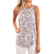 Nlife Women Floral Print Crew Neck Sleeveless Shirt Tops Tee Tanks Camis