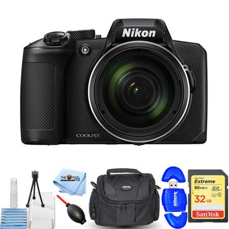 Nikon COOLPIX B600 Digital Camera (Black) #26528 STARTER BUNDLE with 32GB SD, Memoery Card Reader, Gadget Bag, Blower, Microfiber Cloth and Cleaning Kit ()