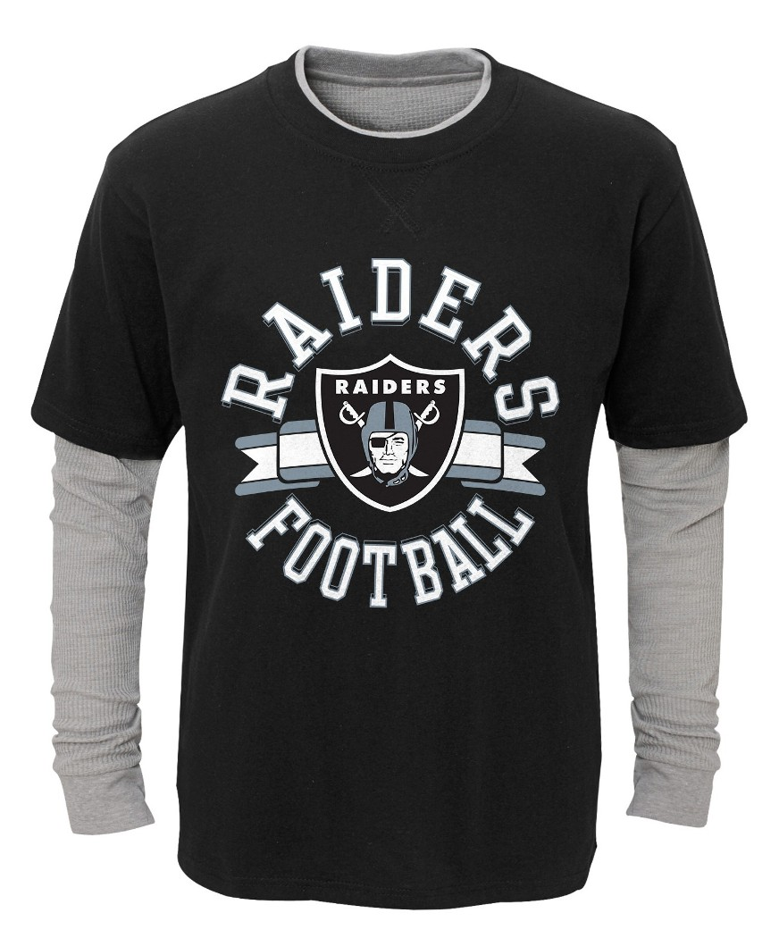 "Oakland Raiders Youth NFL ""Definitive"" L S Faux Layer Thermal Shirt by Outerstuff"
