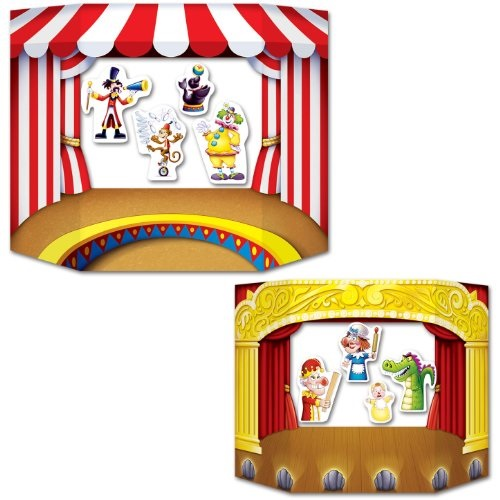 Puppet Show Theater Photo Prop 1 side circus; other side theater Party Accessory 1 count 1/Pkg
