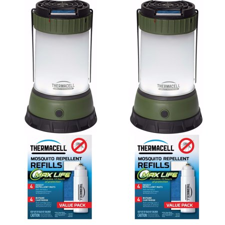 Case 4 Refills - ThermaCELL Mosquito Repellent Outdoor/Camping Lanterns: 2-Pack + 4 Max Refills + Refill Case