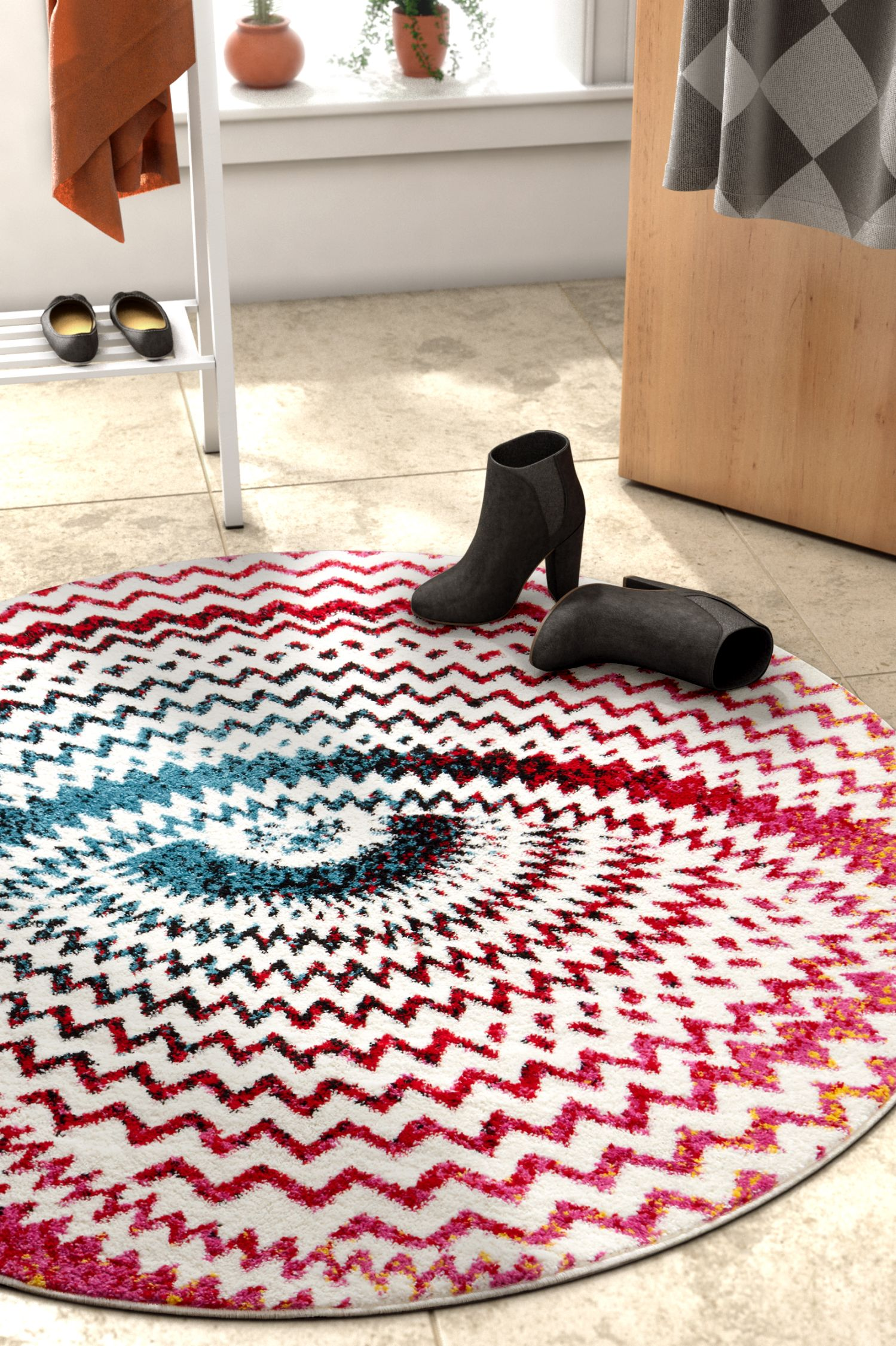 Warp Multi Chevron Red Blue Yellow Green Zigzag Modern Abstract 3d 5x5 5 3 Round Area Rug Easy Clean Stain Fade Resistant Shed Free Contemporary Geometric Thick Soft Plush Living Dining Room
