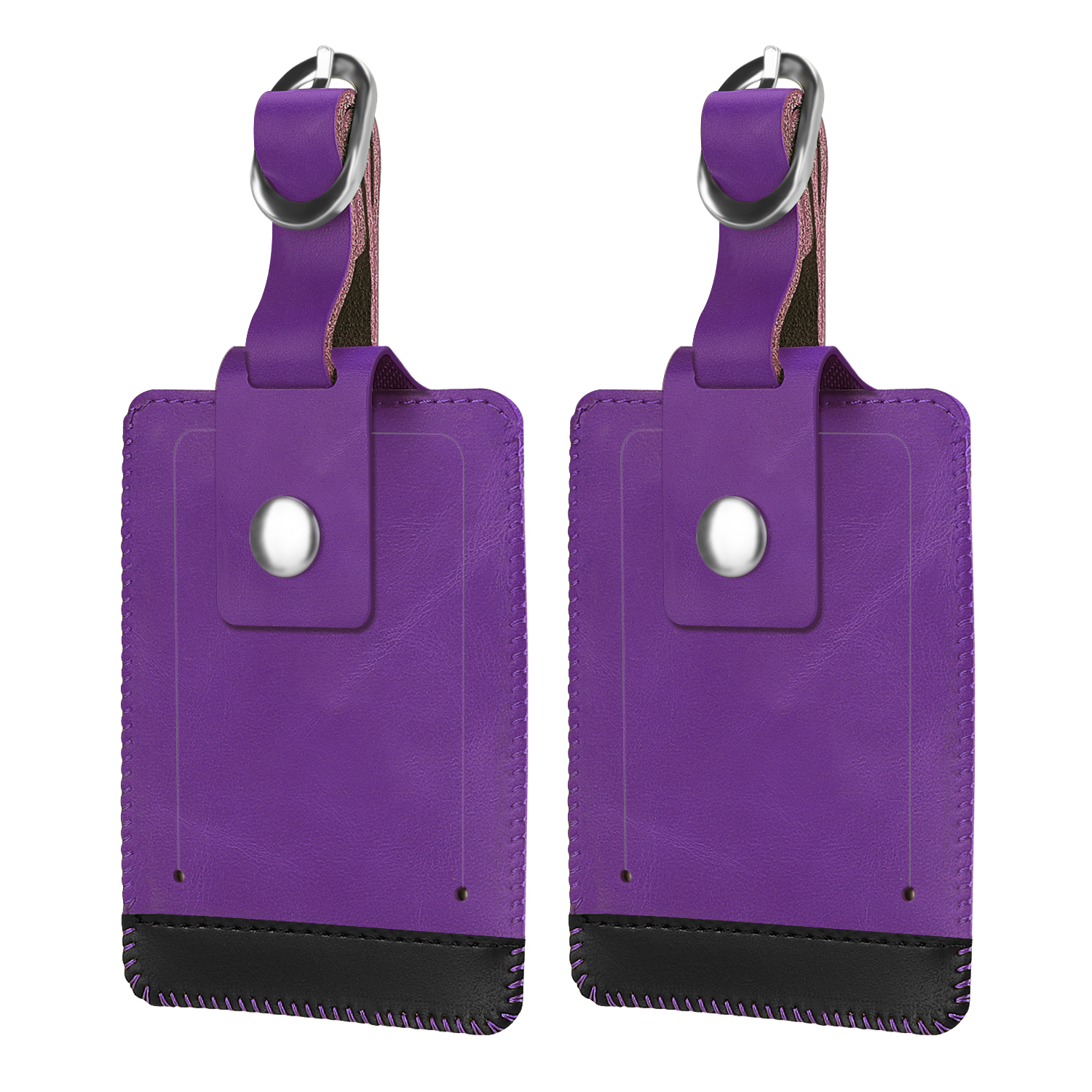 Luggage Suitcase Tags, Fintie Set of 2 Leather Name ID Label Holder Travel Baggage Suitcase Identifier, Purple