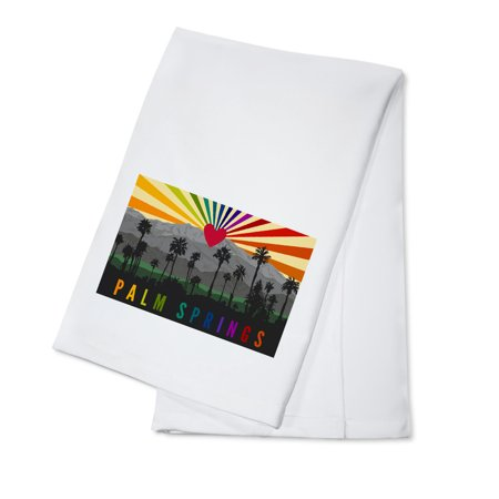 Palm Springs, California - Palm Trees & Mountains - Rainbow - Lantern Press Artwork (100% Cotton Kitchen Towel) (Rainbow Dash 20)