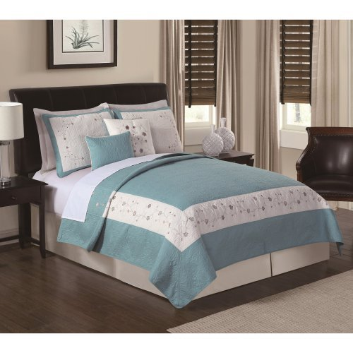 Constance Sea Breeze Embroidered Quilt Set by Chelsea Park