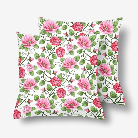 GCKG Seamless Roses Pattern Throw Pillow Covers 18x18 inches Set of 2 - image 3 de 3