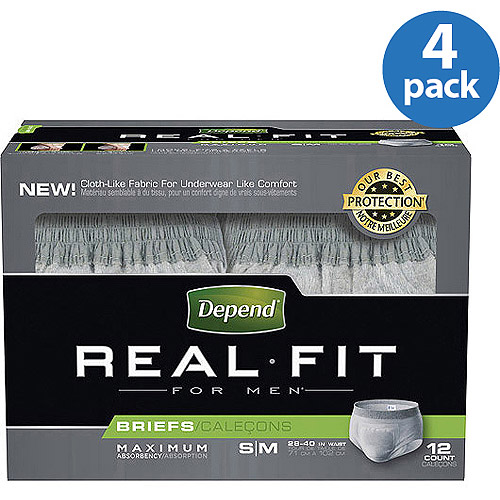 Depend Real Fit for Men Maximum Fitted Briefs,(Choose Your Size), (Pack of 4)