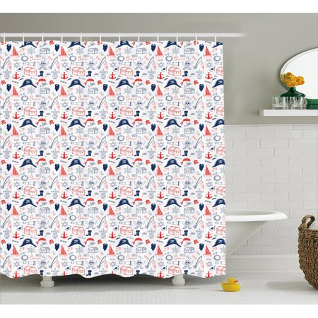 Baby Shower Sailor Theme (Pirates Shower Curtain, Hand Drawn Style Criminal Sea Adventurer Pattern Nautical Sailor Theme, Fabric Bathroom Set with Hooks, 69W X 70L Inches, Scarlet Navy Blue White, by)