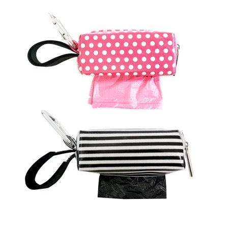 Dot Diaper Set - Oh Baby Bags Diaper Bag Clip-On Dispensers with Disposable Bags for Dirty Diapers and Other Messes -Set of 2 - Pink Dots and Black and White Stripe