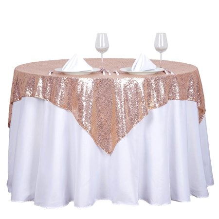 "BalsaCircle 54"" x 54"" Square Sequined Tablecloth for Party Wedding Reception Catering Dining Home Table Linens"