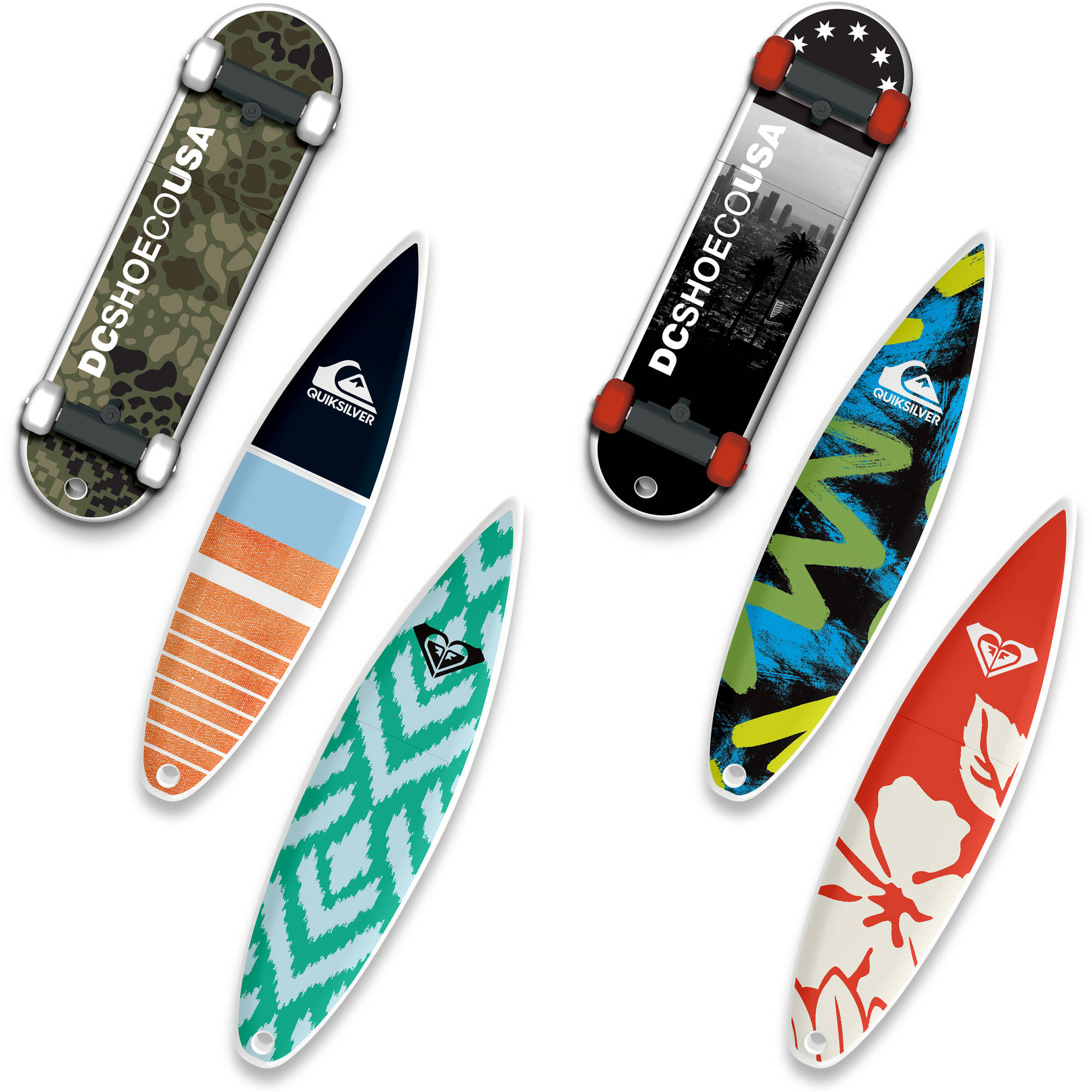 32GB EP ASD USB, DC Shoes SkateDrive, Quiksilver and Roxy SurfDrive, 6-Pack