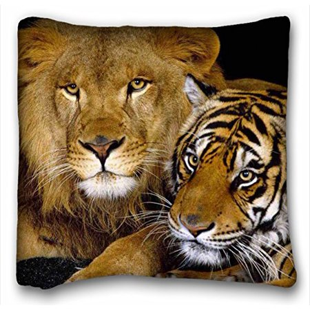 WinHome Lion And Tiger Pillowcases Custom Pillow Case Cushion Cover Size 18x18 Inches Two Side Print