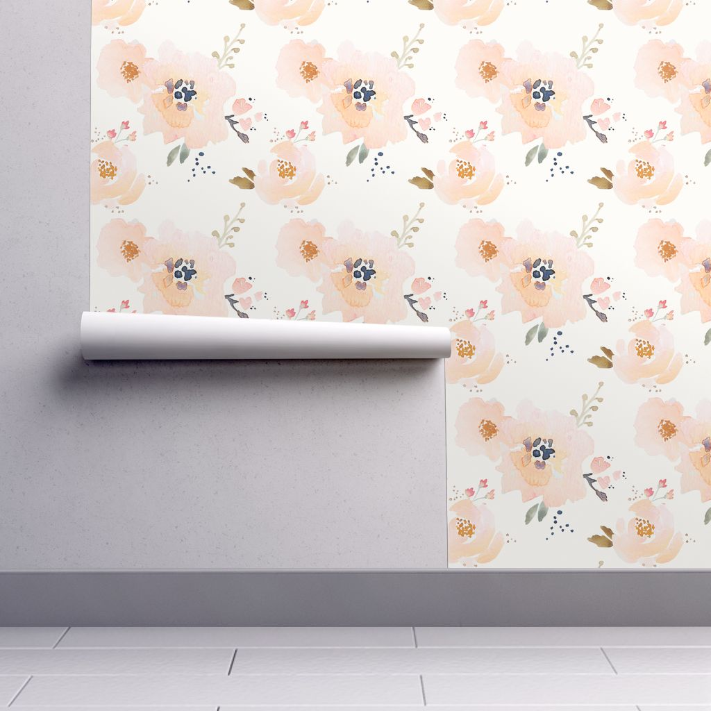 Peel And Stick Removable Wallpaper Watercolor Boho Floral Modern