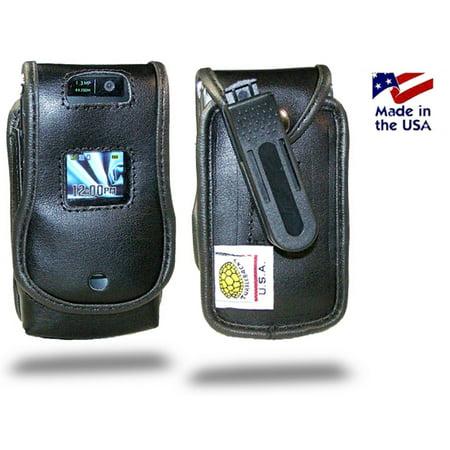 Turtleback Black Leather Case for Motorola RAZR V3 Flip Phone Case with Rotating Belt Clip - Made in