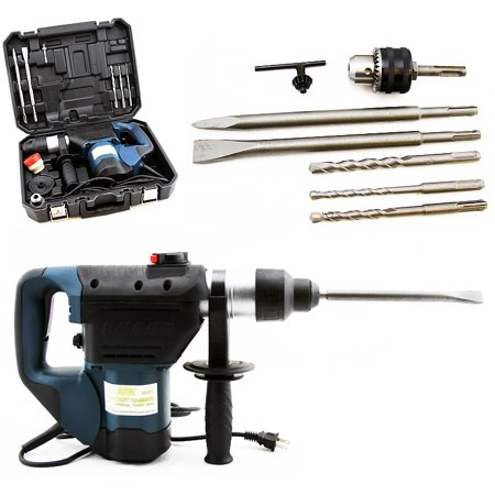 Stark Electric Rotary Hammer Drill 3 Functions and Adjustable Handle SDS Plus Drill Demolition Kit, Flat and Point Chisels with Case