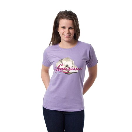 JH Design Louisiana State Flower Magnolia Womens T-shirt ()