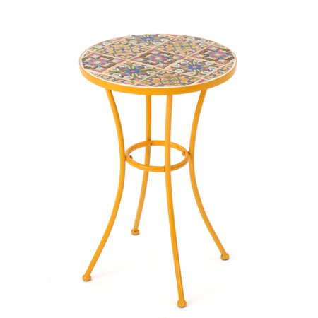 Brienne Outdoor Ceramic Tile Side Table With Iron Frame Yellow