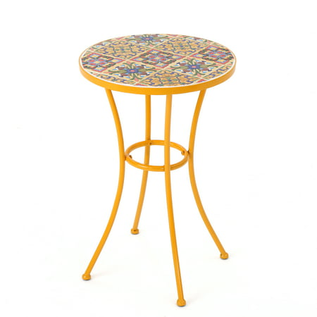 Brienne Outdoor Ceramic Tile Side Table With Iron Frame