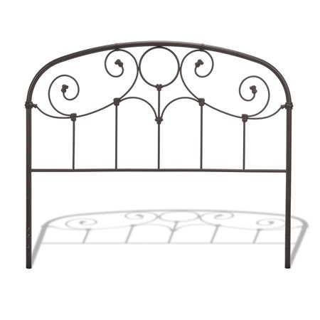 Grafton Metal Headboard Panel with Prominent Scrollwork and Decorative Castings, Rusty Gold Finish, California (California King King Size Headboard)
