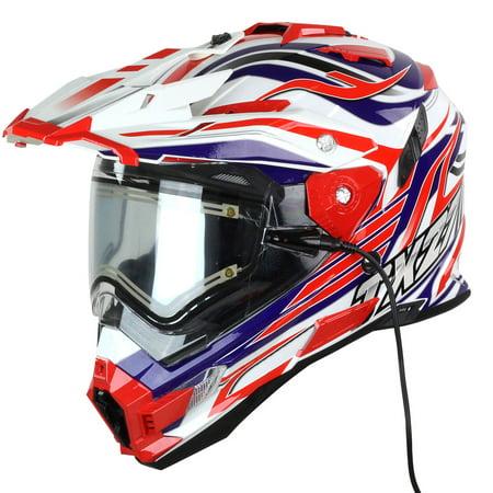 Snow Master TX-27 White Red Blue DS Snowmobile Helmet