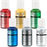 6 US Cake Supply Airbrush Cake Pearlescent Shimmer Metallic Colors in 0.7 fl.oz.