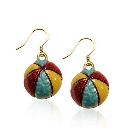 Beach Ball Charm Earrings in Gold
