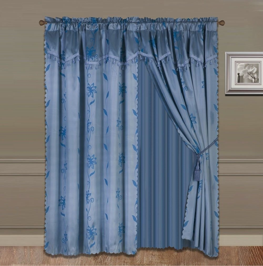 8-Piece SLATE BLUE Nada Luxury Faux Jacquard Floral Design Panel, Rod Pocket Window Curtain Set Attached Valance, Panel, And Sheer- Includes 2 Tie Backs